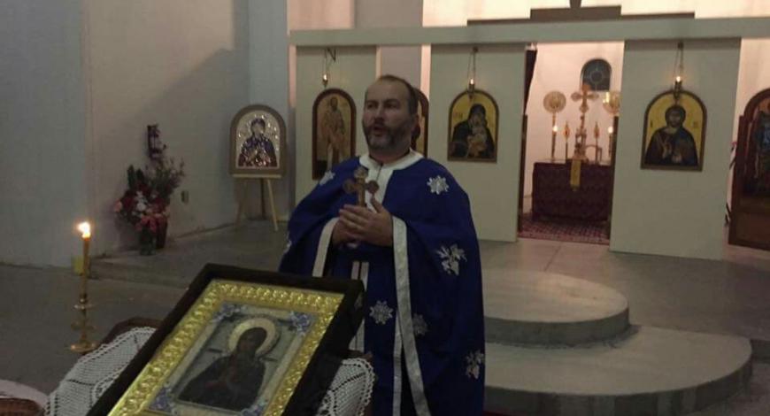 В сербском храме первомученника Стефана в Оттаве нв молебне у мироточивой иконы «Умягчения злых сердец»