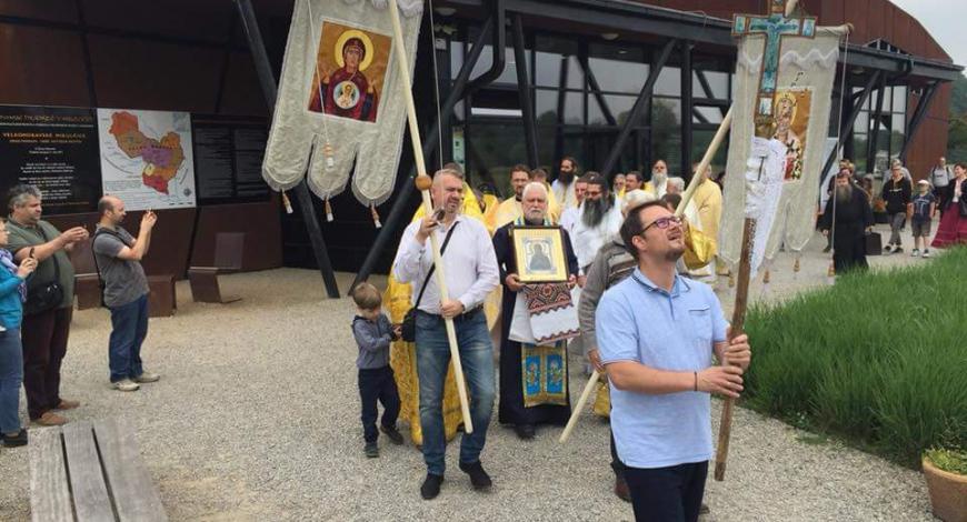 Литургия в Микульчицах (Чехия) на месте Моравской миссии Свв. равноапостольных Кирилла и Мефодия.