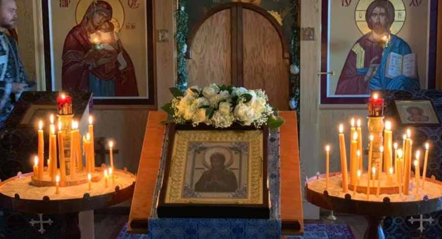 "The myrrh streaming icon of the Mother of God, ""Softener of Evil Hearts"" from Russia will be in our parish Tuesday, April 16"